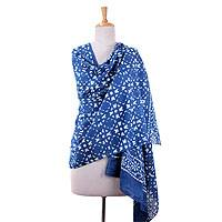 Cotton shawl, 'Indigo Geometry' - Hand Crafted Block Printed Geometry on Indigo Shawl Wrap