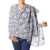 Cotton shawl, 'Dabu Blossoms' - Artisan Crafted Grey and Off-White Cotton Dabu Print Shawl