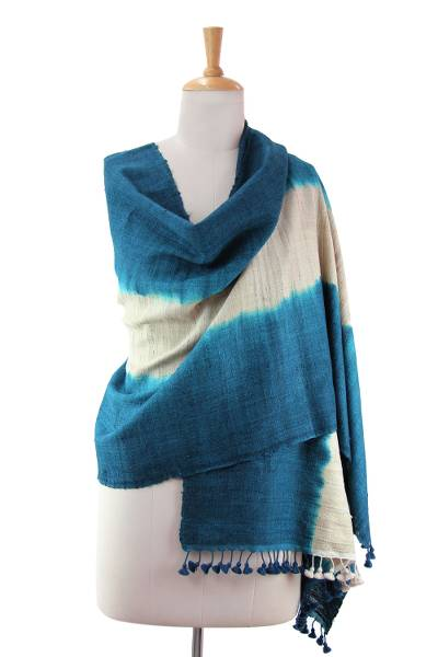 Silk and wool shawl, 'Sumptuous Teal' - Silk and Wool Shawl with Teal Shibori Dye Wrap from India