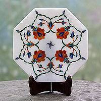Marble inlay decorative plate, 'Floral Maze'