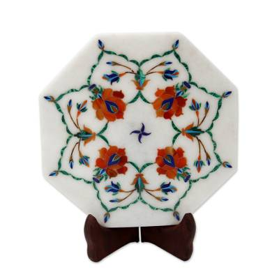 Marble inlay decorative plate, 'Floral Maze' - Floral Inlay on Marble Decorative Plate with Stand