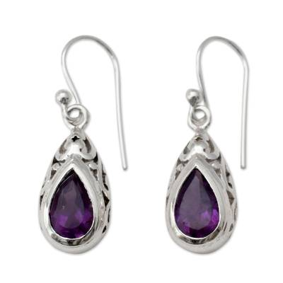 Amethyst dangle earrings, 'Mughal Adoration' - Fair Trade Amethyst and Sterling Silver Earrings from India