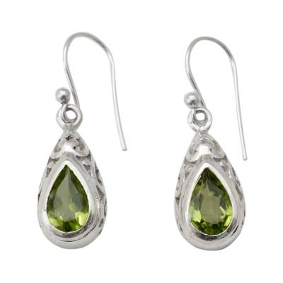 Peridot dangle earrings, 'Mughal Adoration' - Peridot and Sterling Silver Earrings Fair Trade Jewelry