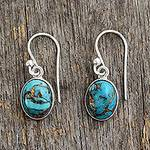 Blue Composite Turquoise Indian Sterling Silver Earrings, 'Sky Harmony'