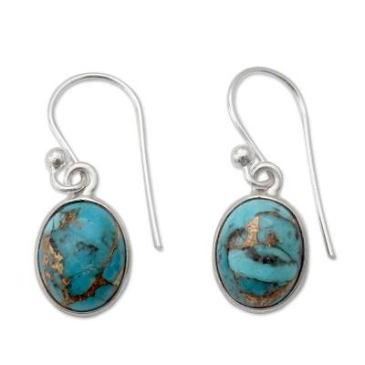 Sterling silver dangle earrings, 'Sky Harmony' - Blue Composite Turquoise Indian Sterling Silver Earrings
