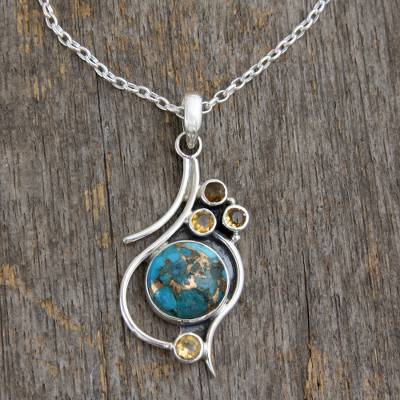 .925 Silver Necklace with Citrine and Composite Turquoise