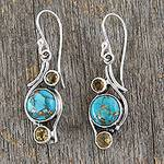 .925 Silver Earrings with Citrine and Composite Turquoise, 'Golden Sky'