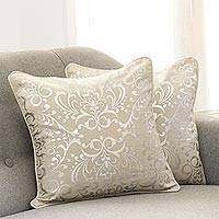 Cotton cushion covers, 'Silver Celebration' (pair)
