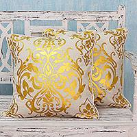 Cotton cushion covers, 'Golden Kaleidoscope' (pair) - Golden Print on Cotton Cushion Covers from India (Pair)