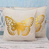 Cotton cushion covers, 'Golden Butterflies' (pair)