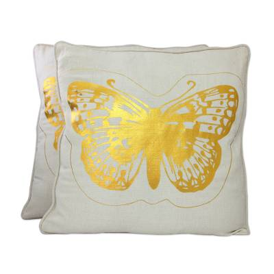Cotton cushion covers, 'Golden Butterflies' (pair) - Golden Butterflies Off White Cotton Cushion Covers (Pair)