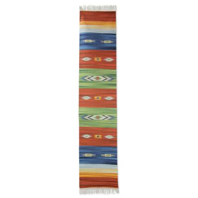 Wool rug, 'Vibrant Punjab' - Handwoven Indian Dhurrie Area Rug in Bright Colors