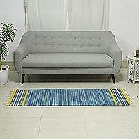 Cotton rug, 'Sky Over Kutch' (2x3)
