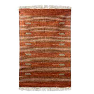 Wool rug, 'Earthen Arrows' (4x6) - Indian Handwoven 4 by 6 Foot Rust Brown Dhurrie Rug