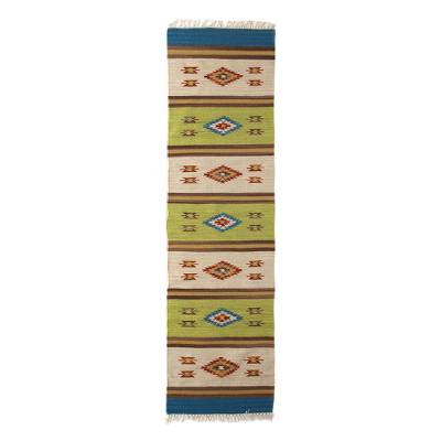 Wool runner, 'Diamond Oasis' (2.5x7.5) - Handwoven Geometric Indian Dhurrie Runner Rug (2.5x7.5)