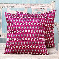 Embroidered cushion covers, 'Magenta Twilight' (pair) - Magenta Cushion Covers with White and Grey Stars (Pair)