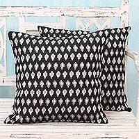 Embroidered cushion covers, 'Midnight Black' (pair) - Embroidered Stars on Black Satin Cushion Covers (Pair)