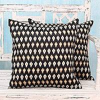 Embroidered cushion covers, 'Midnight Desert' (pair) - Embroidered Beige Stars on Black Satin Cushion Covers (Pair)