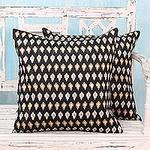Embroidered Beige Stars on Black Satin Cushion Covers (Pair), 'Midnight Desert'