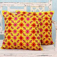 Embroidered cushion covers, 'Holi Stars' (pair) - Multi Color Stars over Yellow Satin Cushion Covers (Pair)
