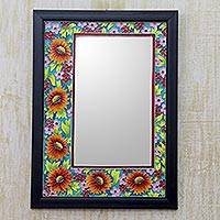 Wall mirror, 'Indian Sunflowers' - Framed Enameled Floral Wall Mirror from India