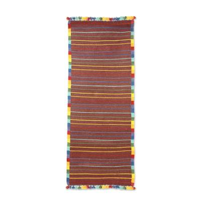 Cotton rug, 'Red Rainbow Road' - Indian Handwoven Multicolor Cotton Accent Rug