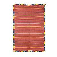 Cotton rug, 'Orange Rainbow Road' (3x4) - Indian Handwoven Orange and Multicolor Cotton Rug (3 x 4)