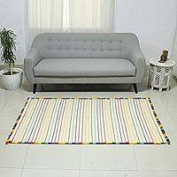 Cotton rug, 'Rainbow Road' (4x6) - Handwoven Cotton Rug in Ivory from India (4 x 6)