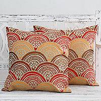 Embroidered cushion covers, 'Coming Up Flowers' (pair) - Aari - Indian Chain Stitch Embroidery Zippered Cushion Cover
