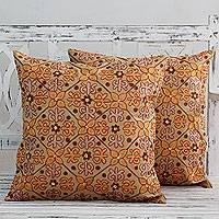Cotton cushion covers, 'Morning Marigolds' (pair) - Chainstitch Cotton Cushion Covers in Autumn Colors (Pair)