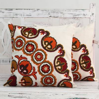 Cotton cushion covers, 'Orange Marigolds' (pair) - Ecru Cotton Cushion Covers with Floral Embroidery (Pair)
