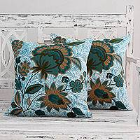 Cotton cushion covers, 'Splendid Blossom' (pair) - India Chain Stitch and Applique Cushion Covers (Pair)
