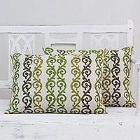 Beaded cotton cushion covers, 'Forest Ferns' (pair) - Beaded Ecru Cotton Cushion Covers with Green Embroidery