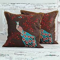 Embroidered cushion covers, 'Peaceful Peacock' (pair) - India Bird Theme Brown Embroidered Cushion Covers (Pair)