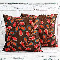 Embroidered cushion covers, 'Festival of Foliage' (pair) - India Leaf Theme Embroidered Brown Cushion Covers (Pair)