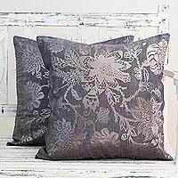 Cotton cushion covers, 'Silver Sea Blossoms' (pair)