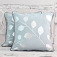 Cotton cushion covers, 'Drifting Leaves' (pair) - Pale Blue Cotton Cushion Covers with Silver Leaves (Pair)