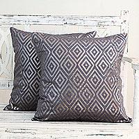 Cotton cushion covers, 'Diamond Glam' (pair)