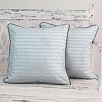 Cotton cushion covers, 'Silver Echo' (pair) - Indian Pale Blue Silver Print Cotton Cushion Covers (Pair)