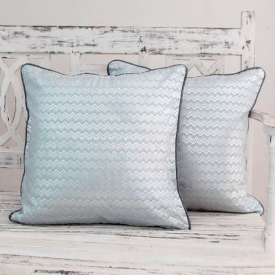 1-Pair Pale Blue//Silver NOVICA Silver Echo Cotton Cushion Covers