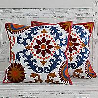 Embroidered cushion covers, 'Floral Jazz' (pair) - Multi coloured Embroidery On White Zippered Cushion Covers (
