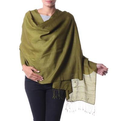 Silk and wool shawl, 'Olive Forest' - India Olive Green Silk and Wool Shawl