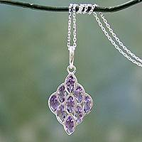 Amethyst pendant necklace, 'Crystalline Beehive' - Modern Handcrafted Silver Necklace with 9 Faceted Amethysts