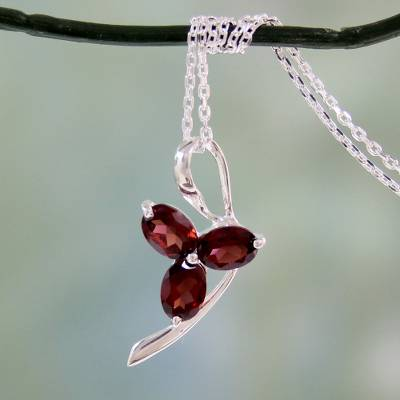Garnet pendant necklace, 'Three Rosebuds' - Artisan Crafted Garnet and Sterling Silver Pendant Necklace
