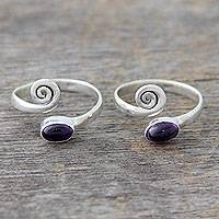 Amethyst toe rings, 'Curls' (pair) - Amethyst and Sterling Silver Toe Rings from India (Pair)