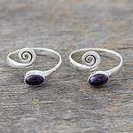 Amethyst and Sterling Silver Toe Rings from India (Pair), 'Curls'