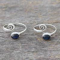Labradorite toe rings, 'Curls' (pair) - Sterling Silver Labradorite Toe Rings from India (Pair)