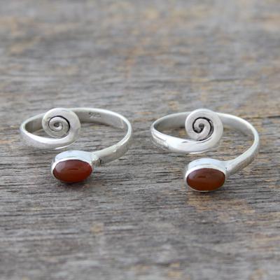 Carnelian toe rings, 'Curls' (pair) - Handcrafted Carnelian and Sterling Silver Toe Rings (Pair)