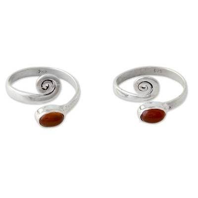 Handcrafted Carnelian and Sterling Silver Toe Rings (Pair)