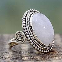 Rainbow moonstone cocktail ring, 'Rainbow Glow'